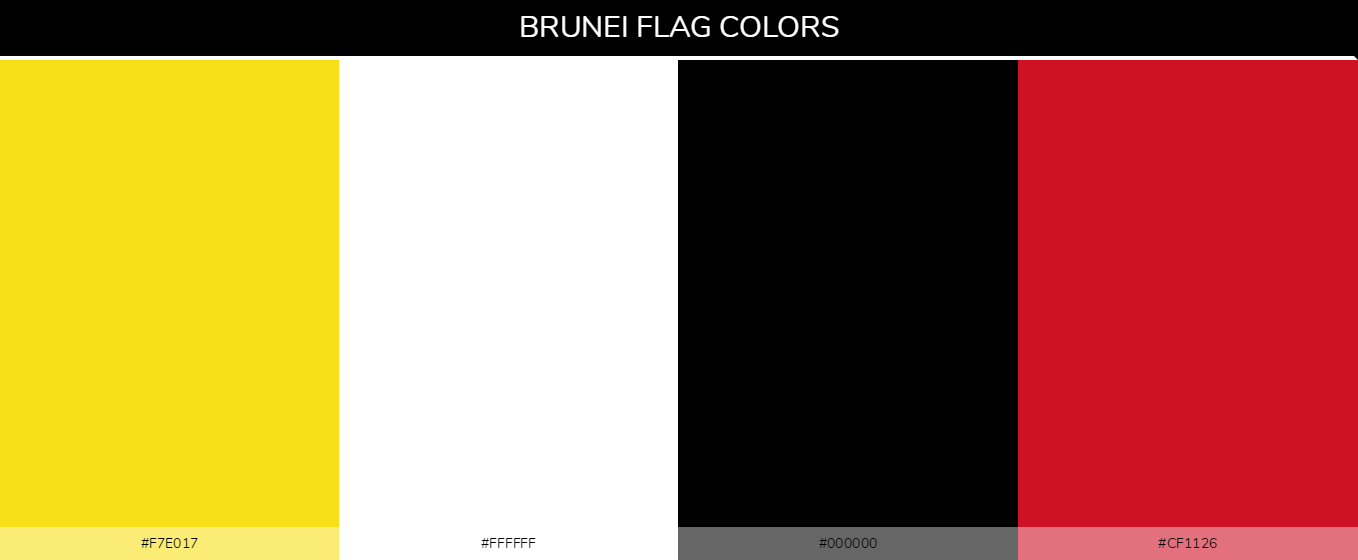 Brunei Country flag colors and codes - Yellow #f7e017, White #ffffff, Black #000000, Red #cf1126