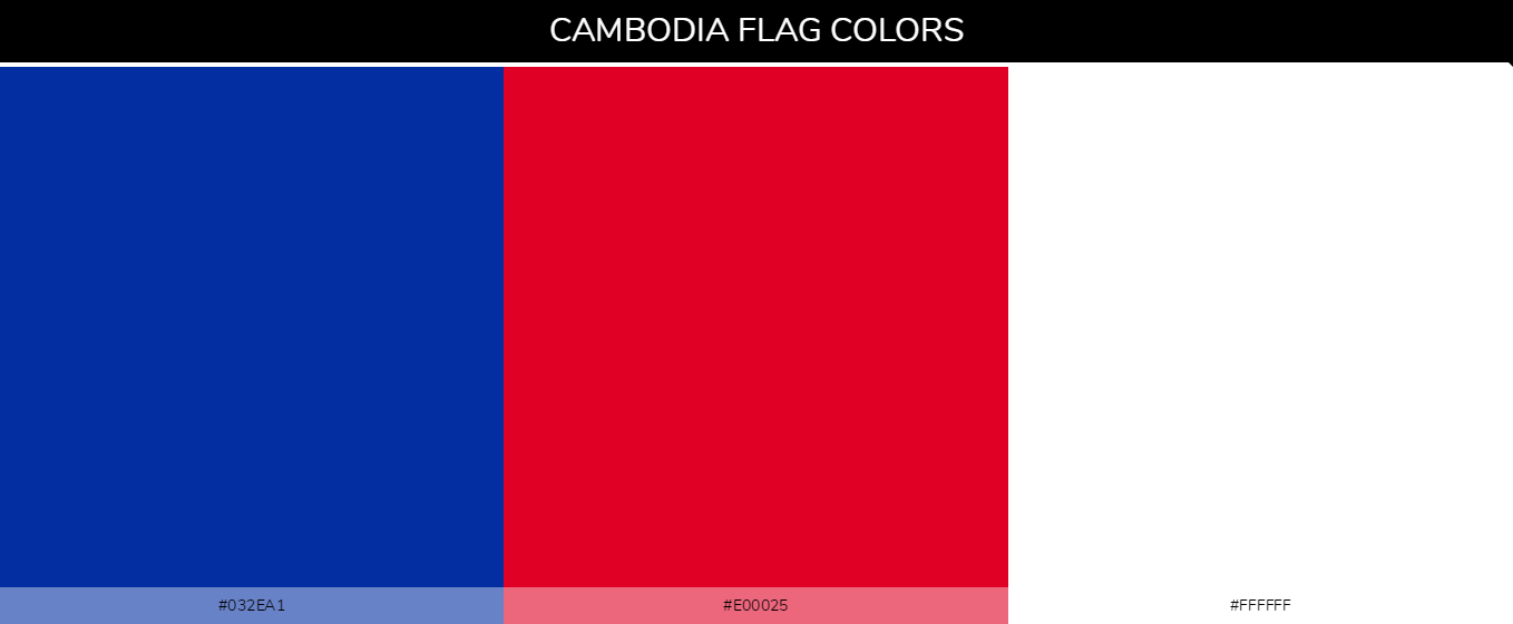 Cambodia Country flag colors and codes - Blue #032ea1, Red #e00025, White #ffffff