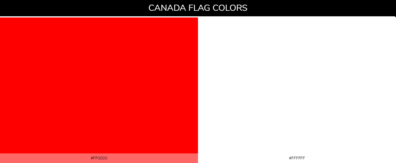 Canada Country Flag color codes - Red #ff0000, White #ffffff
