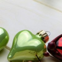 Christmas red and green ornaments