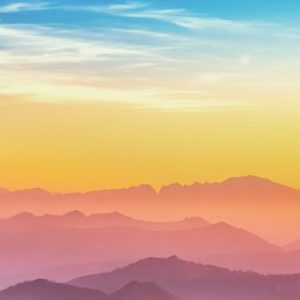 Colorful Silhouette of Mountains