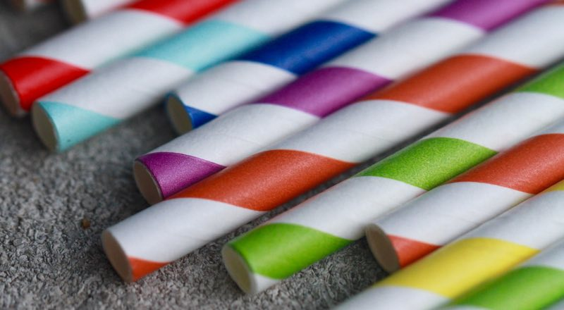 Straws with colored bands