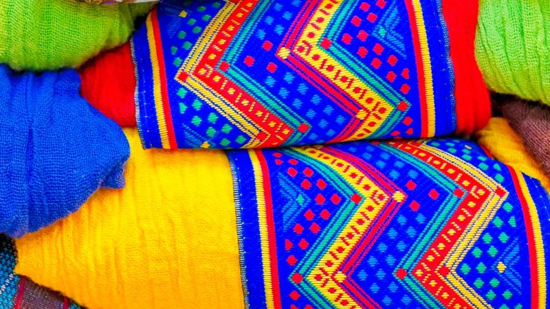 Colorful textile - fabric rolls