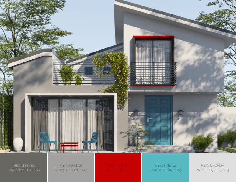 This wonderful House Exterior has 5 colors combination with Davy's Grey, Boston University Red, Cadet Blue, Cinereous and Bone.