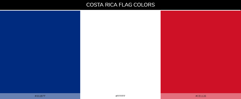 Costa Rica country flags - Blue #002b7f, White #ffffff, Red #ce1126