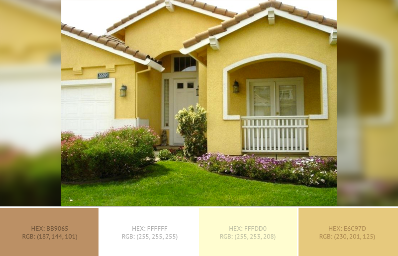 This wonderful House Exterior has 3 colors combination with Dark Electric Blue, Light French Beige and White Smoke.
