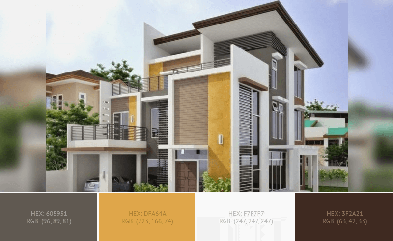 This awesome House Exterior has 4 colors combination with Wenge, Indian Yellow, White Smoke and Bistre.