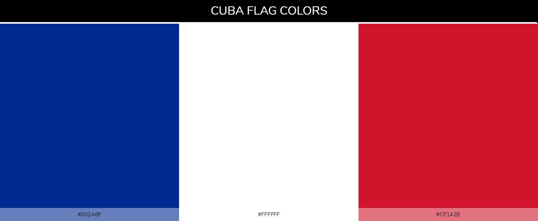 Cuba country flags - Blue #002a8f, White #ffffff, Red #cf142b