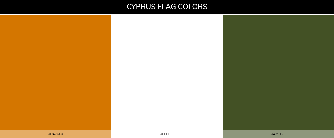 Cyprus country flags - Orange #d47600, White #ffffff, Green #435125