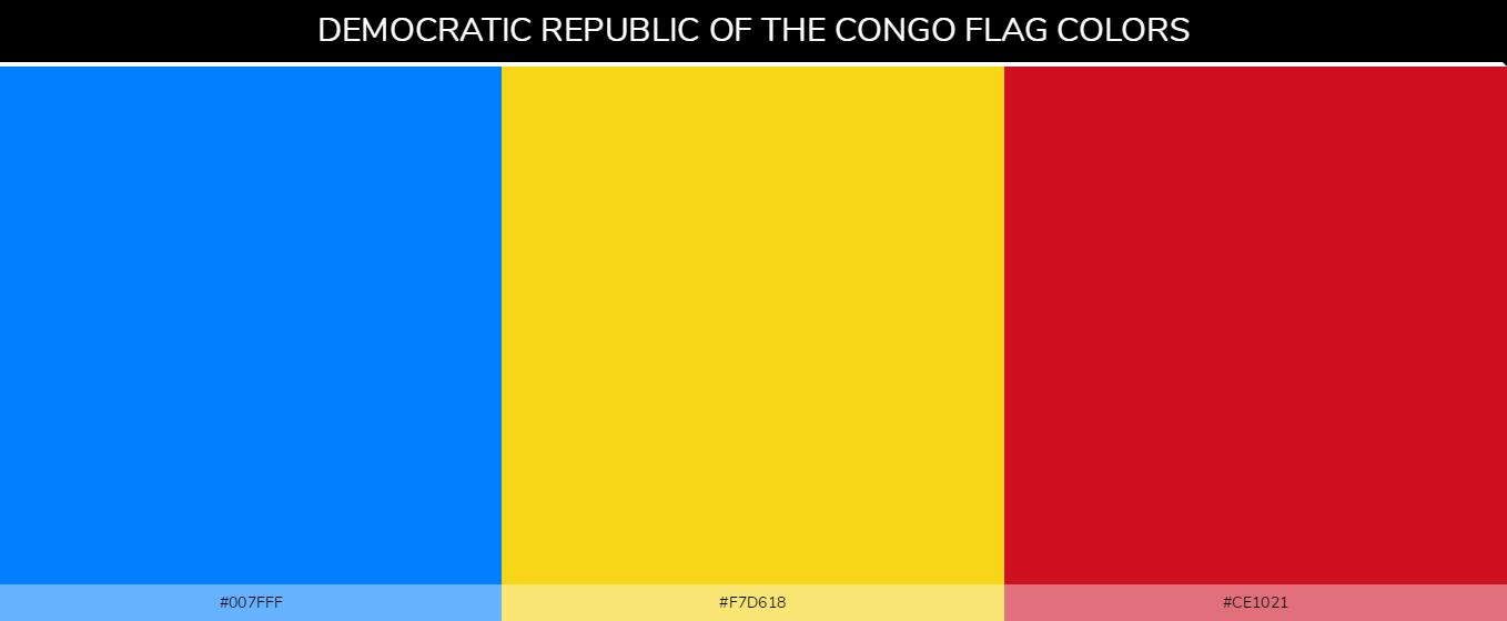 Democratic Republic of the Congo flag colors codes  - Blue #007fff, Yellow #f7d618, Red #ce1021