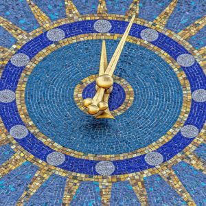 Clock on the mosaic tiles