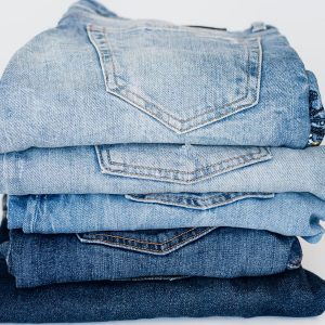 Different colored blue denims