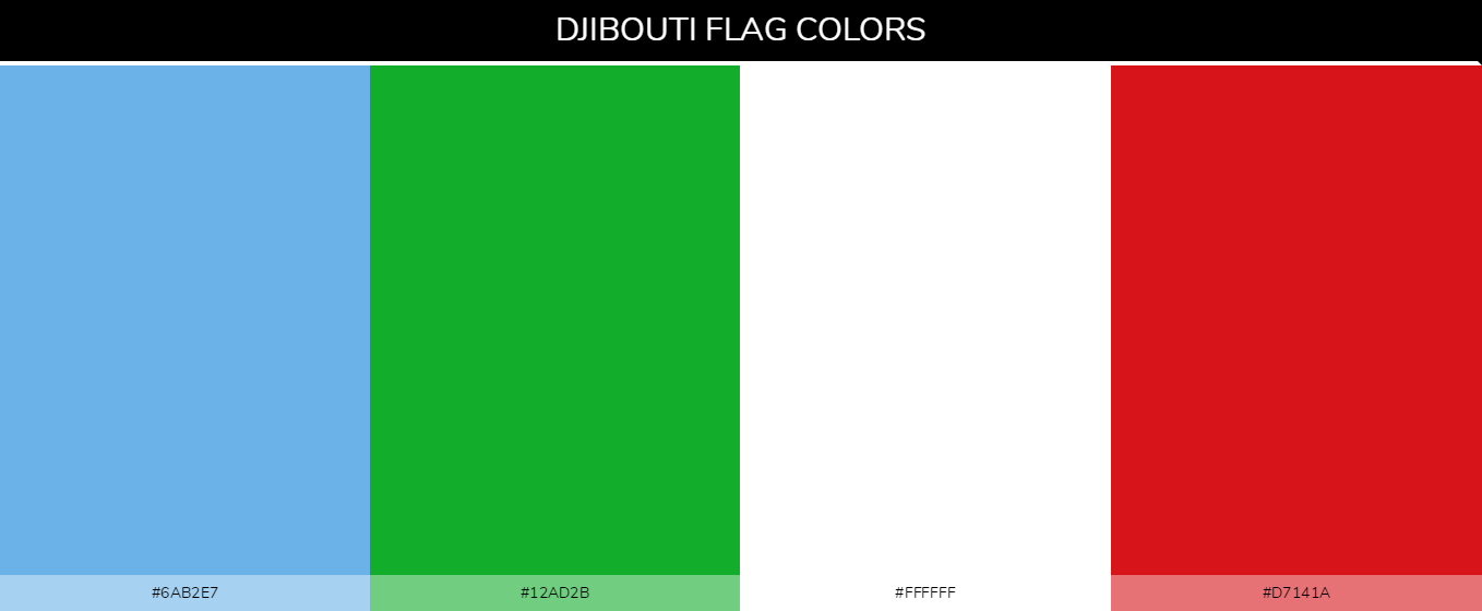 Djibouti country flag color codes - Blue #6ab2e7, Green #12ad2b, White #ffffff, Red #d7141a