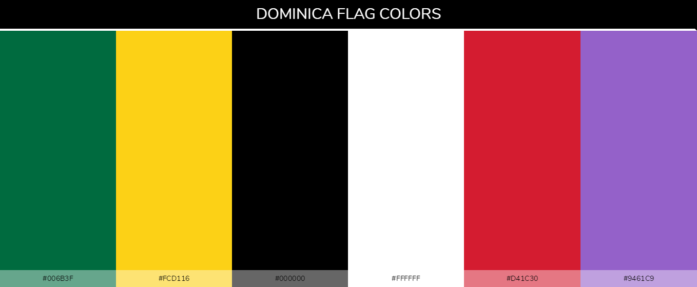 Dominica country flag color codes - Green #006b3f, Yellow #fcd116, Black #000000, White #ffffff, Red #d41c30, Violet #9461c9