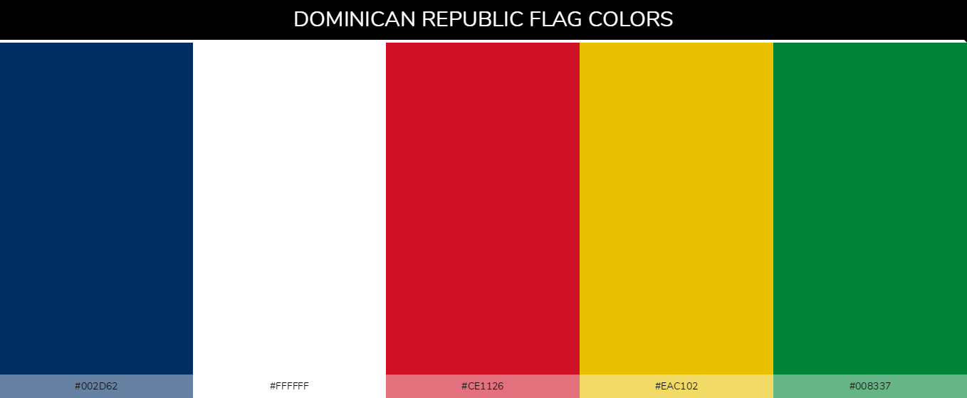 Dominican Republic country flag color codes - Blue #002d62, White #ffffff, Red #ce1126, Yellow #eac102, Green #008337