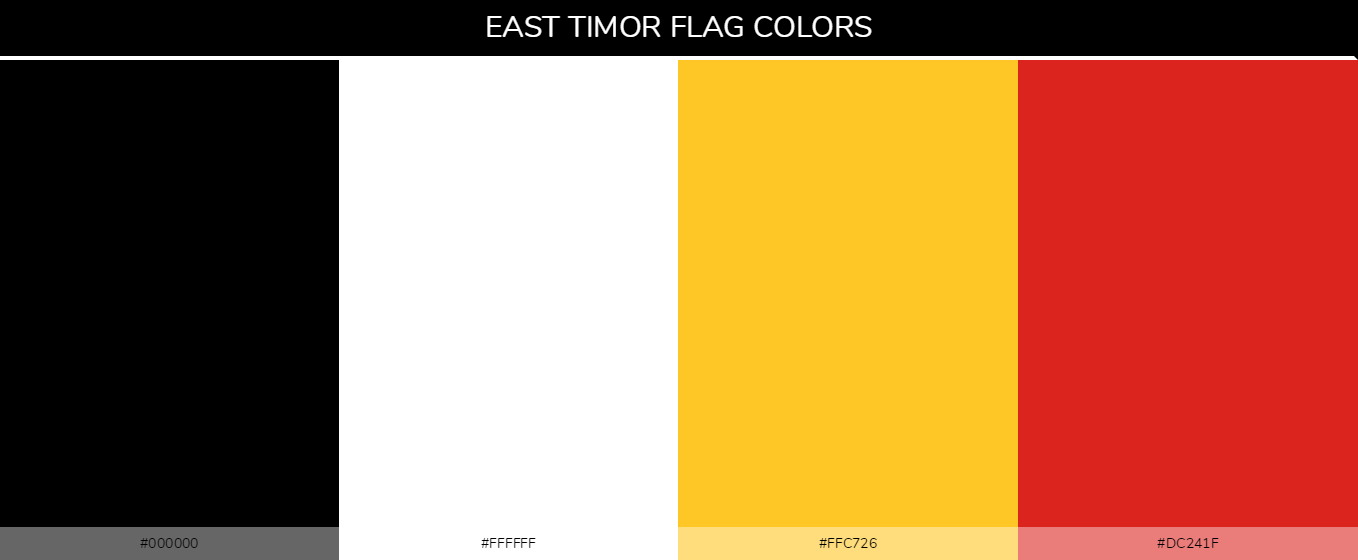 East Timor country flag color codes - Black #000000, White #ffffff, Yellow #ffc726, Red #dc241f