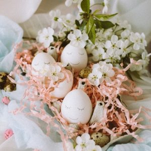Easter eggs arrangement in pastel colors