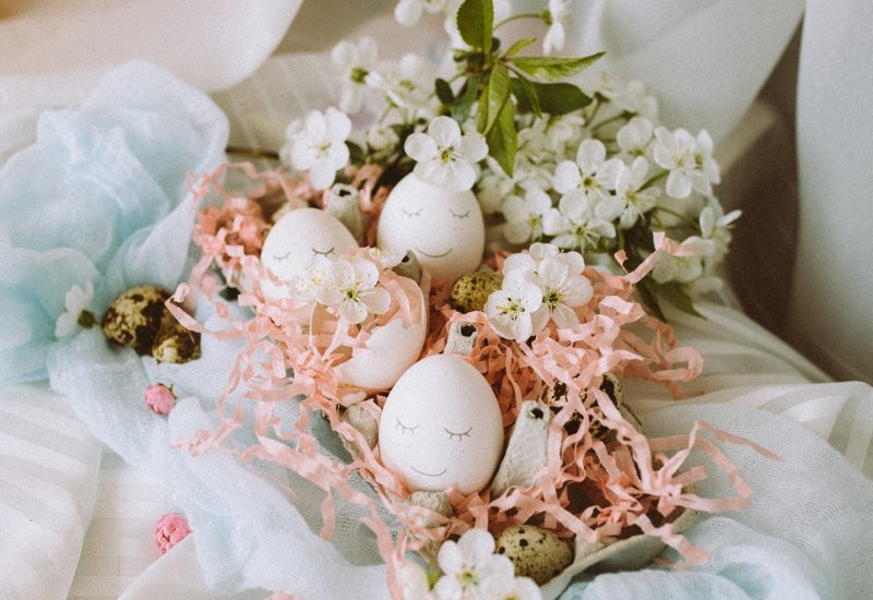 Easter eggs arrangement in pastel colors