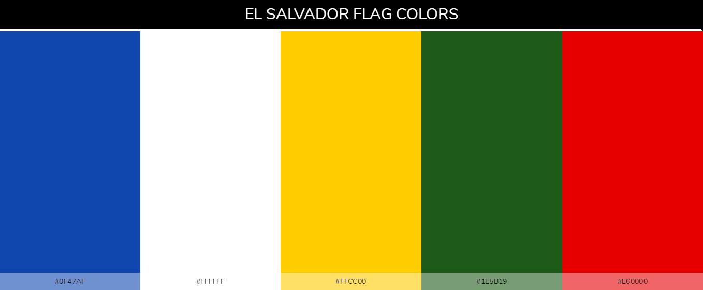 El Salvador country flag color codes - Blue #0f47af, White #ffffff, Yellow #ffcc00, Green #1e5b19, Red #e60000