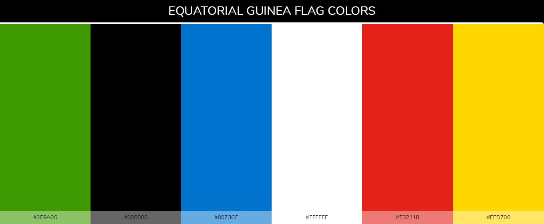 Equatorial Guinea country flag color codes - Green #3e9a00, Black #000000, Blue #0073ce, White #ffffff, Red #e32118, Yellow #ffd700