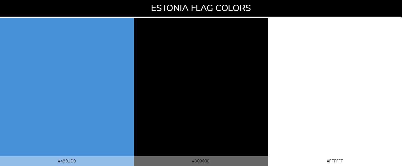 Estonia country flag color codes - Blue #4891d9, Black #000000, #ffffff
