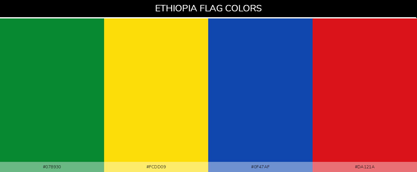 Ethiopia country flag color codes - Green #078930, Yellow #fcdd09, Blue #0f47af, Red #da121a