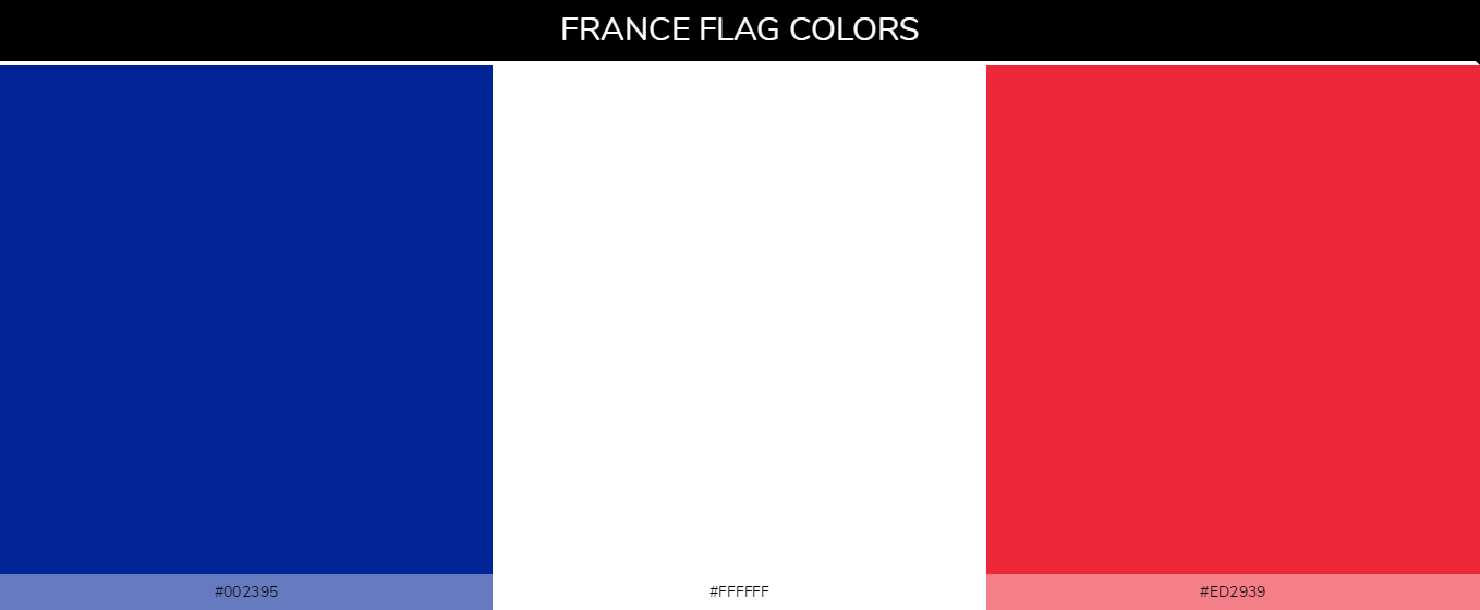 France Country Flag color codes - Blue #002395, White #ffffff, Red #ed2939