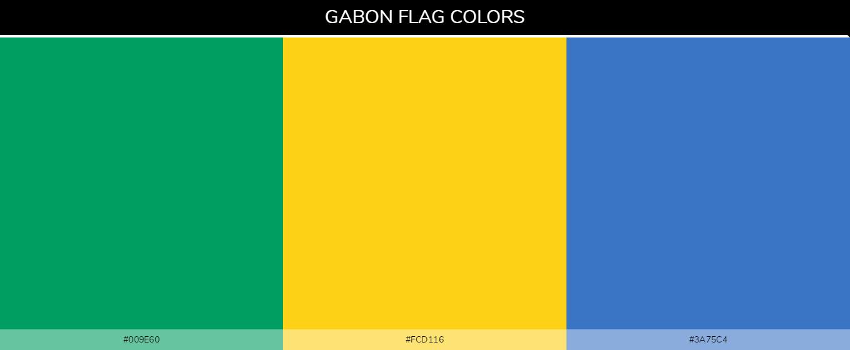 Gabon Country Flag color codes - Green #009e60, Yellow #fcd116, Blue #3a75c4
