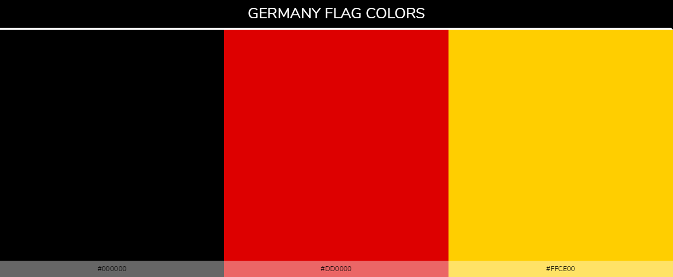 Germany Country Flag color codes - Black #000000, Red #dd0000, Yellow #ffce00