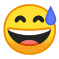 Google Grinning Face With Sweat Emoji