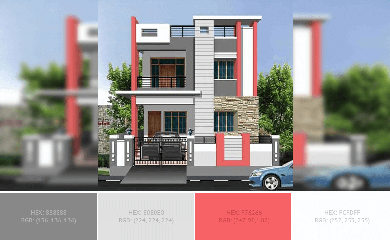 This creative House Exterior has 4 colors combination with Taupe Gray, Platinum, Pastel Red and White.