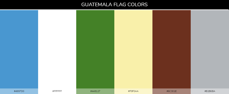 Guatemala Country Flag color codes - Blue #4997d0, White #ffffff, Green #448127, Cream #f9f0aa, Brown #6c301e, Gray #b2b6ba