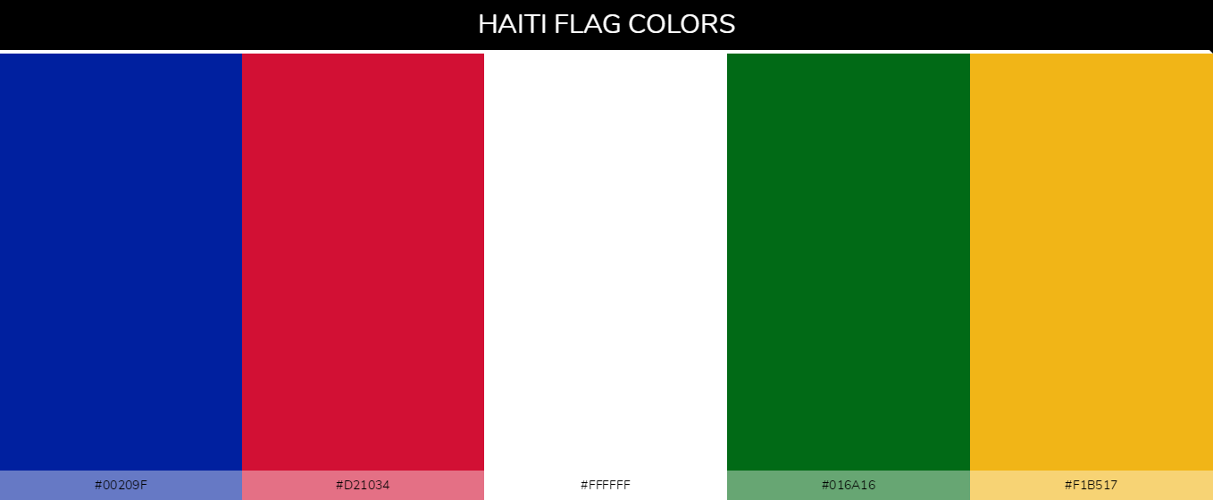 Haiti Country Flag color codes - Blue #00209f, Red #d21034, White #ffffff, Green #016a16, Yellow #f1b517