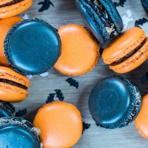 Dark blue and orange macaroons - Halloween theme