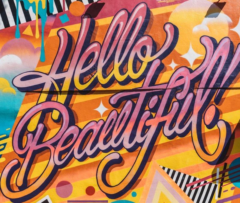 Hello Beautiful cursive graffiti
