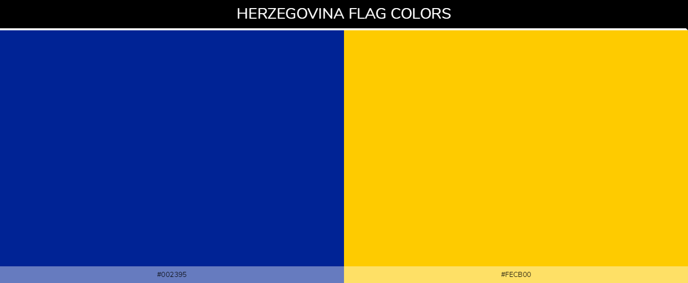 Bosnia and Herzegovina Country flag colors and codes - Blue 002395, Yellow fecb00