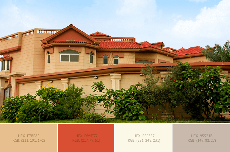 This Creative House Exterior Has 4 Colors Combination With Pale Gold,  Cinnabar, Old Lace
