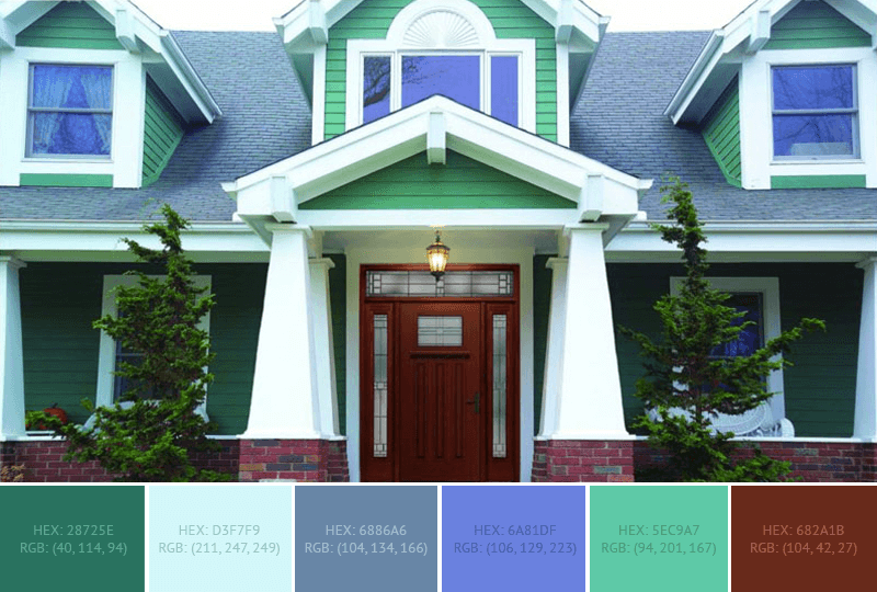 This wonderful House Exterior has 6 colors combination with Amazon, Light Cyan, Air Force Blue (RAF), United Nations Blue, Medium Aquamarine and Liver (Organ).