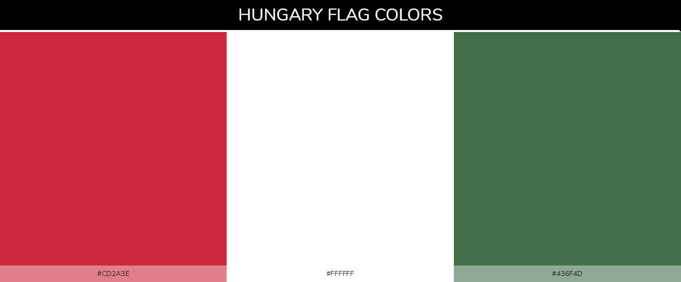 Hungary country flag color codes - Red #cd2a3e, White #ffffff, Green #436f4d