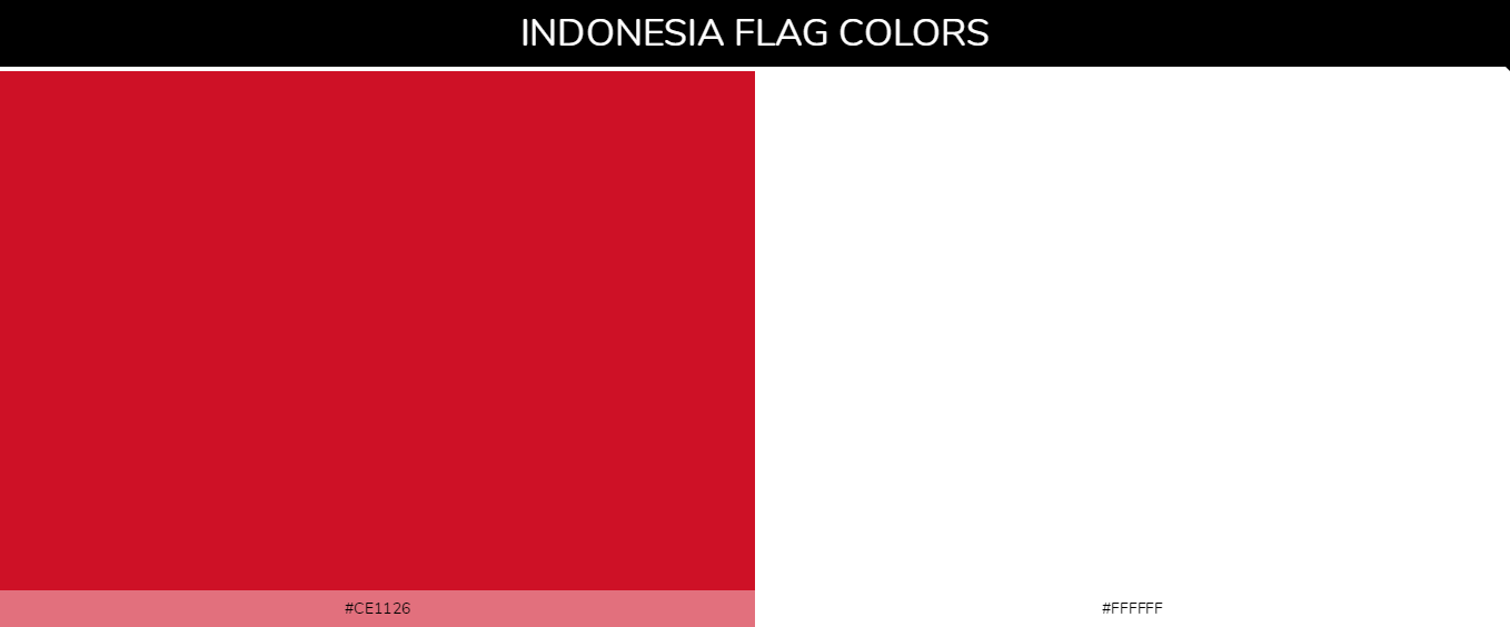 Indonesia country flag color codes - Red #ce1126, White #ffffff