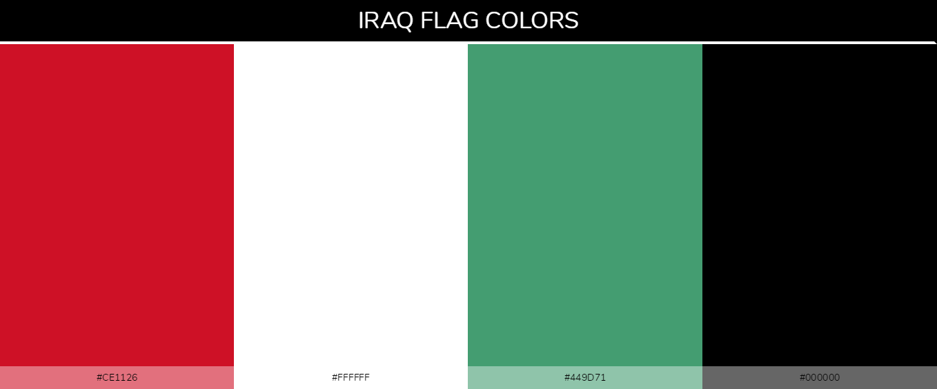 Iraq country flag color codes - Red #ce1126, White #ffffff, Green #449d71, Black #000000