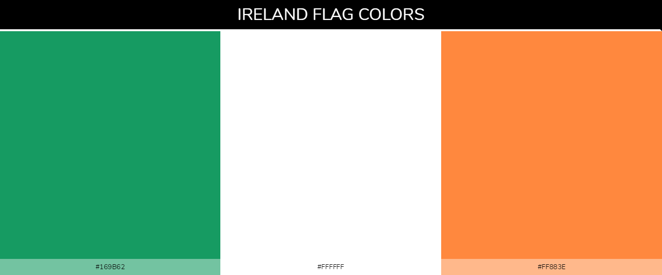 Ireland country flag color codes - Green #169b62, White #ffffff, Orange #ff883e