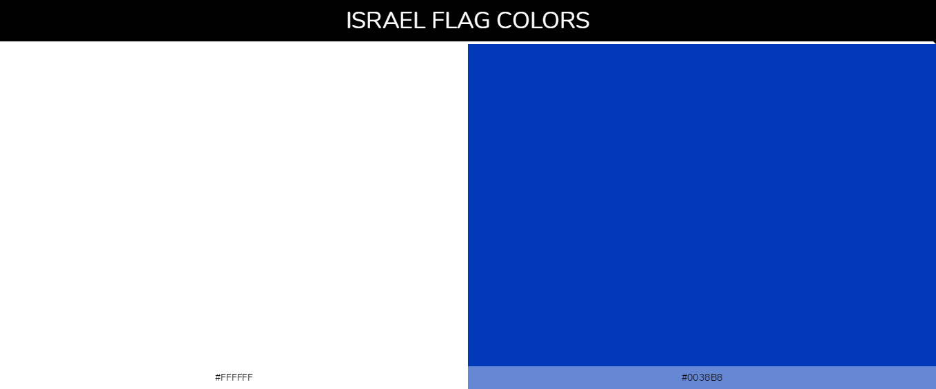 Israel country flag color codes - White #ffffff, Blue #0038b8