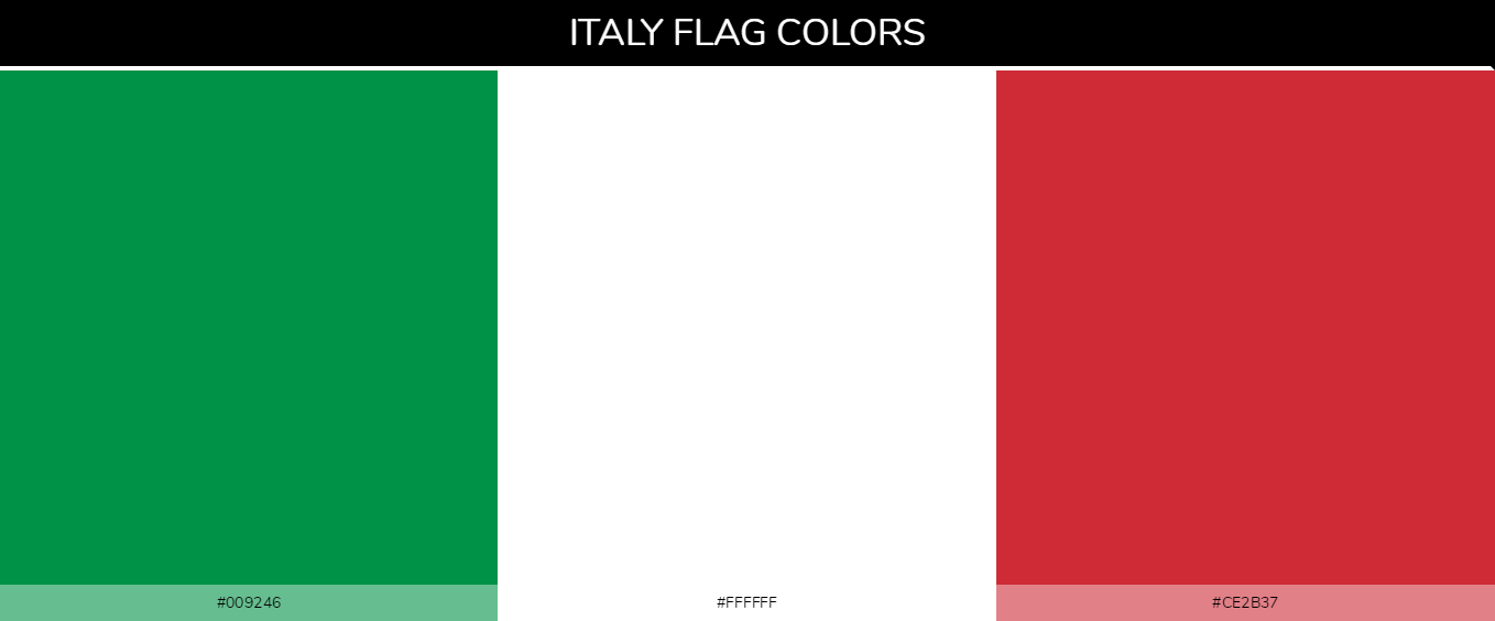 Italy country flag color codes - Green #009246, White #ffffff, Red #ce2b37