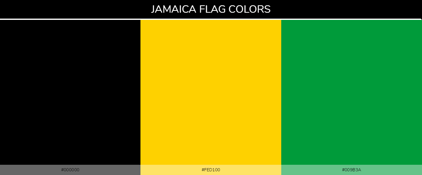 Jamaica country flag color codes - Black #000000, Yellow #fed100, Green #009b3a