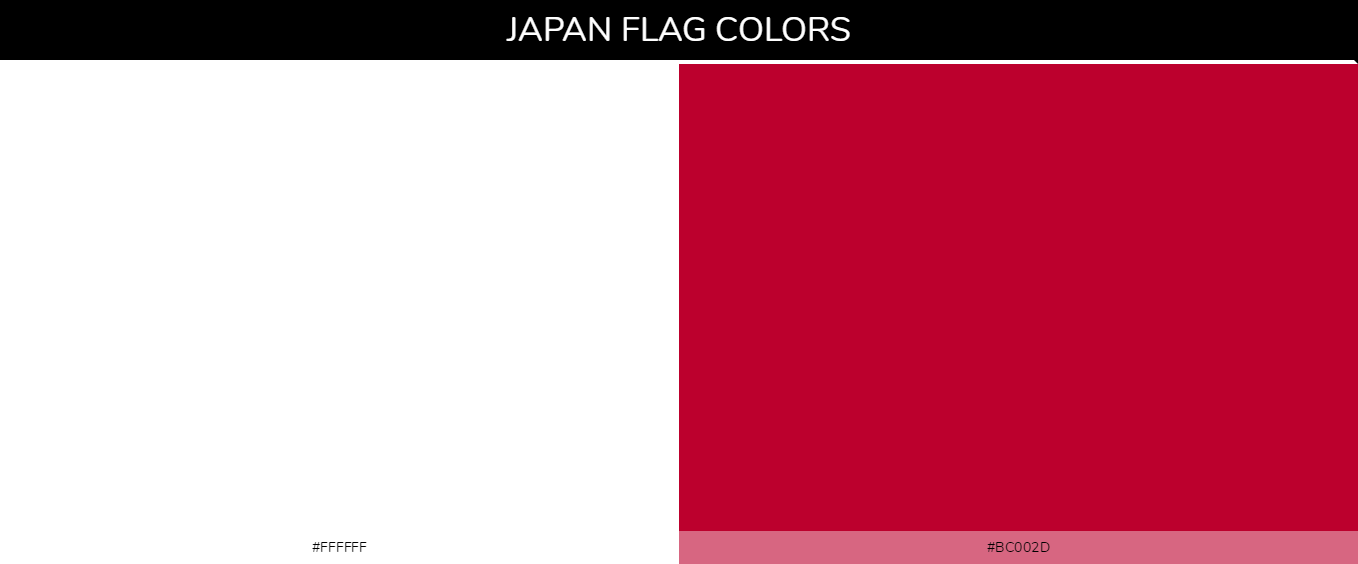 Japan country flag color codes - White #ffffff, Red #bc002d