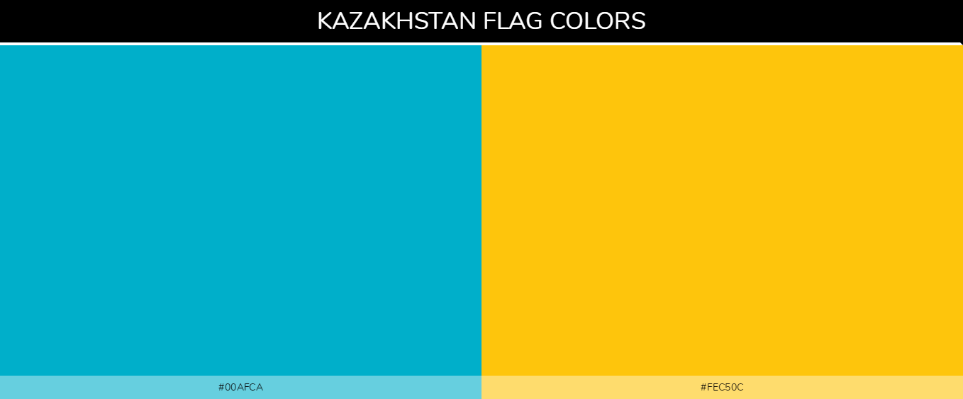 Kazakhstan country flag color codes - Blue #00afca, Yellow #fec50c
