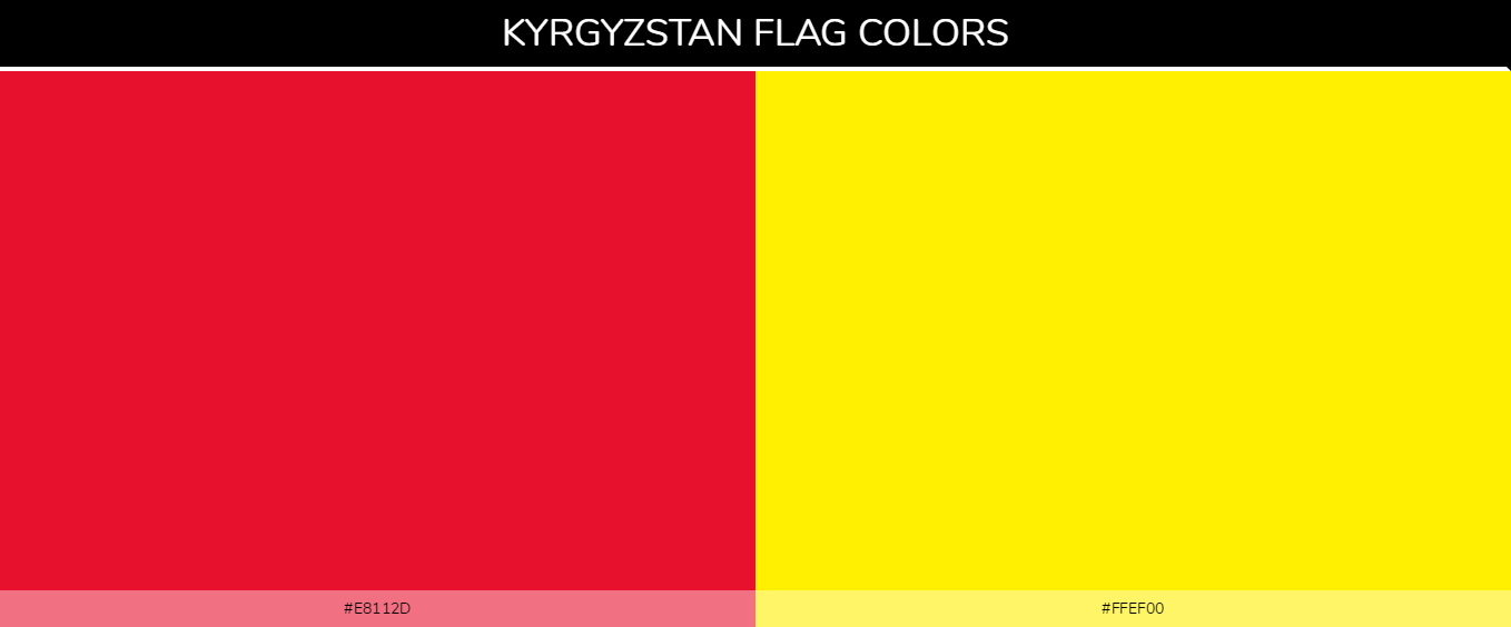 Kyrgyzstan country flag color codes - Red #e8112d, Yellow #ffef00