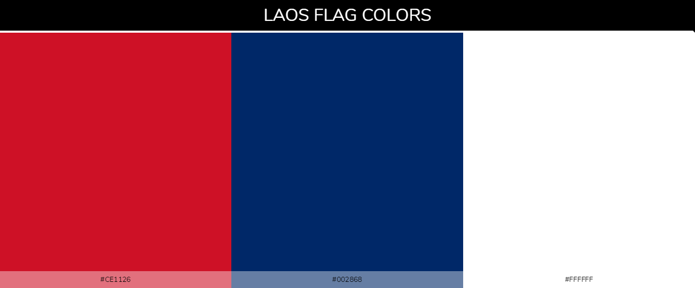 Laos country flag color codes - Red #ce1126, Blue #002868, White #ffffff