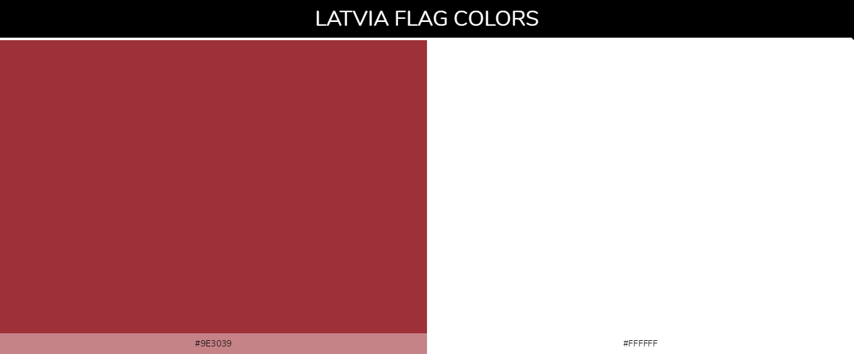 Latvia country flag color codes - Brown #9e3039, White #ffffff